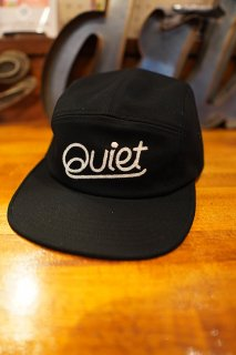 THE QUIET LIFE Chainstitch Script 5 Panel Camper Hat -Made in USA- (Black)
