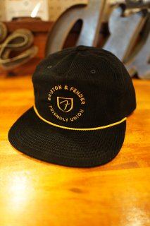 BRIXTON × FENDER ELECTRIC MP SNAPBACK CAP (BLACK/MUSTARD)