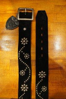 HTC  #24 Silver Vintage Studs Belt 1.75 (Suede Black)