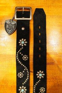 HTC #125 Turquoise Vintage Studs Belt 1.75 (Suede Black)