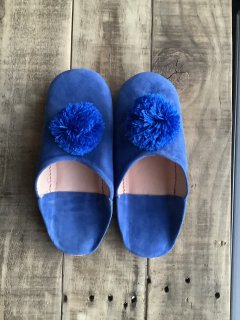 スェードポンポンバブーシュ(室内用)ブルー