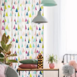 遮光2級・洗濯OK 北欧スタイル 木にも、傘にも、キャンディーにも見えるかわいいカーテン 【FR4450 Paraple パラプル PI ピンク】