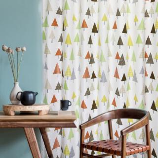 遮光2級・洗濯OK 北欧プリント 木にも、傘にも、キャンディーにも見えるかわいいカーテン【FR4451 Paraple パラプル BR ブラウン】