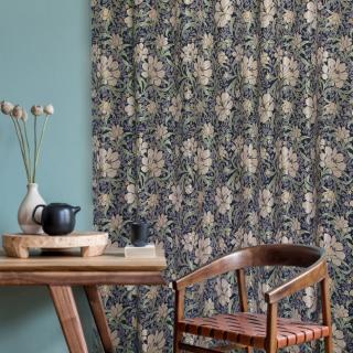 花を描いたワンランク上の上質なゴブラン織りカーテン お洗濯ができる。【FG2001 Hedge ヘッジ BLブルー】