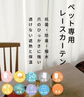 無料カーテン生地サンプル 【FP0011  Petlace ペットレース IV アイボリー】