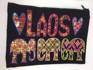 ポーチ  黒 LAOS刺繍