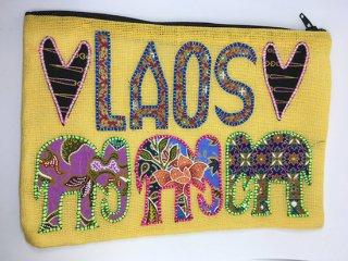 ポーチ  黄色 LAOS刺繍