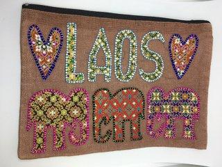 ポーチ ブラウン LAOS刺繍