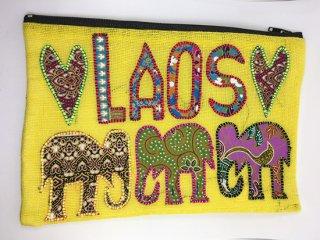 ポーチ  明るい黄色 LAOS刺繍
