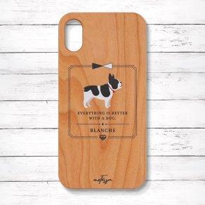 フレンチブルドッグ パイド(Classical) 木製iPhoneケース