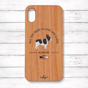 フレンチブルドッグ パイド(Basic) 木製iPhoneケース
