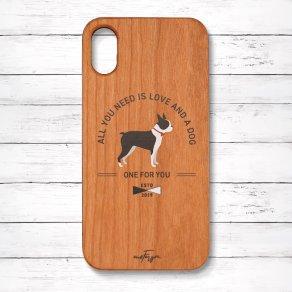 ボストンテリア(Basic) 木製iPhoneケース