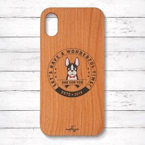 ボストンテリア(Emblem) 木製iPhoneケース
