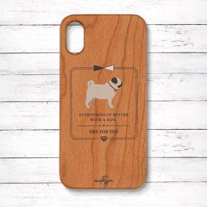 パグ フォーン(Classical) 木製iPhoneケース