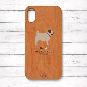 パグ フォーン(Simple) 木製iPhoneケース