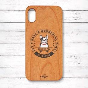 フレンチブルドッグ パイド(Emblem) 木製iPhoneケース