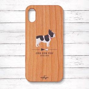 フレンチブルドッグ パイド(Simple) 木製iPhoneケース