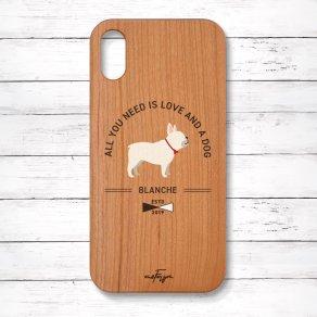 フレンチブルドッグ クリーム(Basic) 木製iPhoneケース
