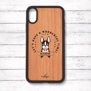 ボストンテリア(Emblem) 衝撃吸収タイプ 木製iPhoneケース