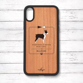 ボストンテリア(Classical) 衝撃吸収タイプ 木製iPhoneケース