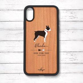ボストンテリア(Simple) 衝撃吸収タイプ 木製iPhoneケース