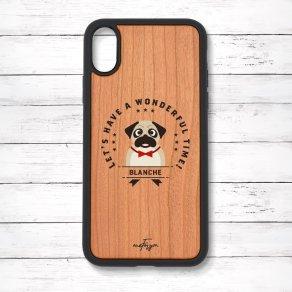 パグ フォーン(Emblem) 衝撃吸収タイプ 木製iPhoneケース