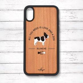 フレンチブルドッグ パイド(Basic) 衝撃吸収タイプ 木製iPhoneケース