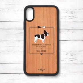 フレンチブルドッグ パイド(Classical) 衝撃吸収タイプ 木製iPhoneケース
