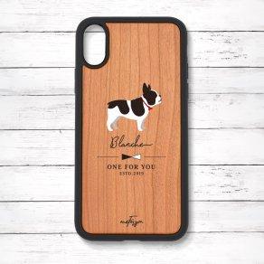 フレンチブルドッグ パイド(Simple) 衝撃吸収タイプ 木製iPhoneケース