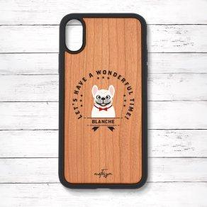 フレンチブルドッグ クリーム(Emblem) 衝撃吸収タイプ 木製iPhoneケース