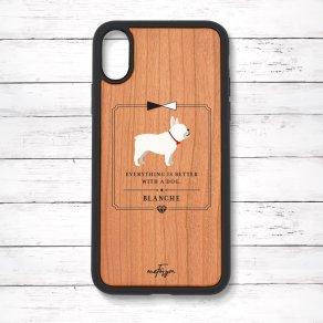 フレンチブルドッグ クリーム(Classical) 衝撃吸収タイプ 木製iPhoneケース