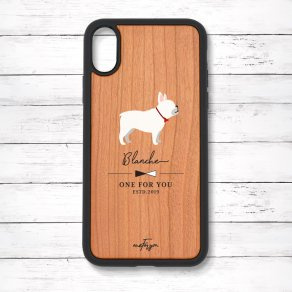 フレンチブルドッグ クリーム(Simple) 衝撃吸収タイプ 木製iPhoneケース
