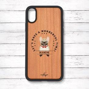 フレンチブルドッグ フォーン(Emblem) 衝撃吸収タイプ 木製iPhoneケース