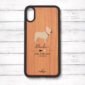 フレンチブルドッグ フォーン(Simple) 衝撃吸収タイプ 木製iPhoneケース