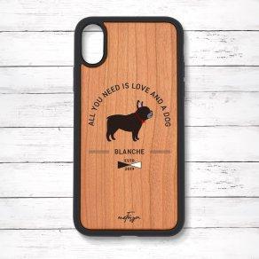 フレンチブルドッグ ブリンドル(Basic) 衝撃吸収タイプ 木製iPhoneケース