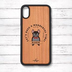 フレンチブルドッグ ブリンドル(Emblem) 衝撃吸収タイプ 木製iPhoneケース