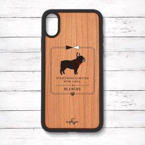 フレンチブルドッグ ブリンドル(Classical) 衝撃吸収タイプ 木製iPhoneケース