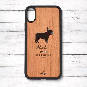 フレンチブルドッグ ブリンドル(Simple) 衝撃吸収タイプ 木製iPhoneケース