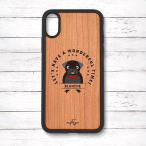 パグ ブラック(Emblem) 衝撃吸収タイプ 木製iPhoneケース