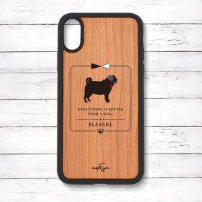 パグ ブラック(Classical) 衝撃吸収タイプ 木製iPhoneケース
