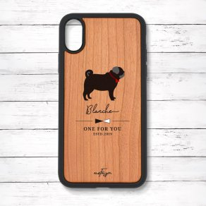 パグ ブラック(Simple) 衝撃吸収タイプ 木製iPhoneケース