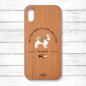 シーズー ゴールド&ホワイト(Basic) 木製iPhoneケース