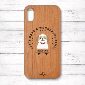 シーズー ゴールド&ホワイト(Emblem) 木製iPhoneケース