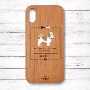 シーズー ゴールド&ホワイト(Classical) 木製iPhoneケース