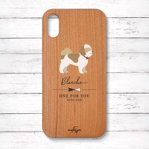 シーズー ゴールド&ホワイト(Simple) 木製iPhoneケース