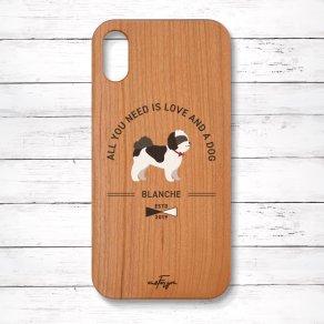 シーズー ブラック&ホワイト(Basic) 木製iPhoneケース