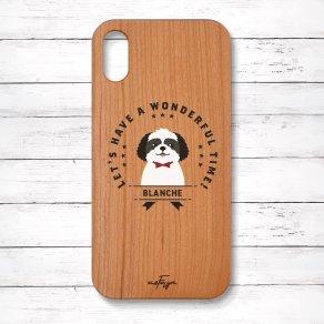 シーズー ブラック&ホワイト(Emblem) 木製iPhoneケース