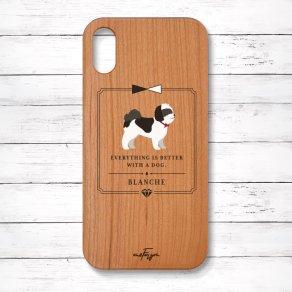 シーズー ブラック&ホワイト(Classical) 木製iPhoneケース