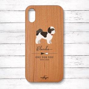 シーズー ブラック&ホワイト(Simple) 木製iPhoneケース