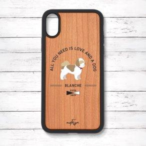シーズー ゴールド&ホワイト(Basic) 衝撃吸収タイプ 木製iPhoneケース